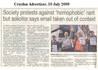 Article in the Croydon Advertiser: click to view a bigger image