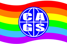 CAGS logo on rainbow flag