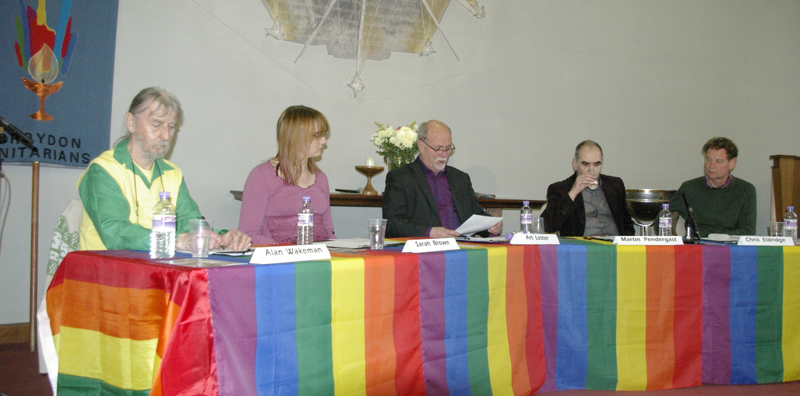 The panel for the debate. Left to right: Alan Wakeman, Sarah Brown, Rev Art Lester, Martin Pendergast, Chris Eldridge