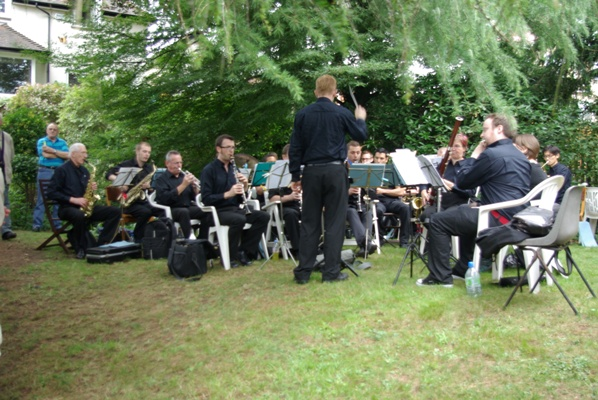 The London Gay Symphonic Winds playing at the party