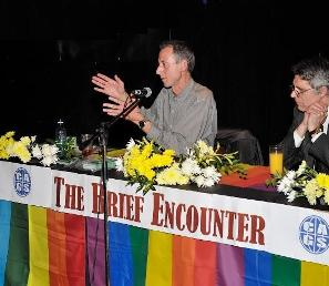 Peter Tatchell speaking at The Brief Encounter